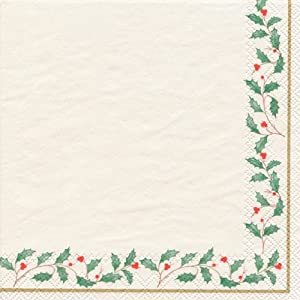 Lenox Cocktail Decorative Paper Napkins, Holiday, 20 Count