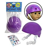 Doll Bike Helmet - Purple Bike Helmet with Easy Strap and Decorate Yourself Decals - Fits American Girl