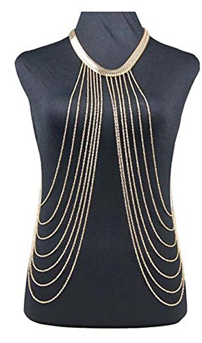 Fashion Gold Tone Multi Layers Body Chain with Eight Dangling Cuban Links
