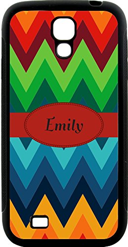 Rikki Knighttm Emily Name On Fall Autumn Colors Chunky Chevron Zig Zag Design Design Samsung® Galaxy S4 Case Cover (Black Hard Rubber Tpu With Bumper Protection) For Samsung Galaxy S4 I9500 front-591623