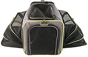 Premium Dual Expandable Pet Travel Carrier by Pets GO2 - Soft Sided, Airline Approved with Two Expanding Non-Sagging Sides for Maximum Space - Designed for the Safety and Comfort of Traveling Cats, Dogs, Bunnies and other Pets