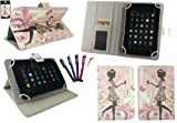 Emartbuy® Bundle of 5 Stylus + Universal Range Flower Girl Multi Angle Executive Folio Wallet Case Cover With Card Slots Suitable for Medion LifeTab E7310 7 Inch Tablet ( As Sold in Asda )
