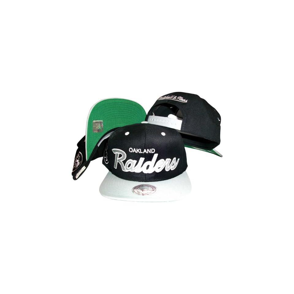 3db0238ae48403 Oakland Raiders Script Black/Silver Two Tone Snapback Adjustable Plastic  Snap Back Hat / Cap