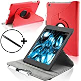 Forefront Cases Leather Rotating Cover/Stand Case with Magnetic Auto Sleep Wake Function and Stylus Pen for 7 inch Amazon Kindle Fire HDX 2013 - Red