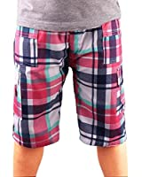 Boys Multi Pocketed Checked Combo Cargo Shorts