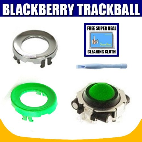 Green Trackball with Chrome Ring + Green Replacement Ring for BlackBerry Pearl 8100, 8110, 8120, 8130, Curve 8300, 8310, 8320, 8330, Devices plus Opening Tool with Exclusive FREE Complimentary Super Deal Micro Fiber Cleaning Cloth