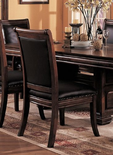 Buy low price coaster set of 2 old west style solid wood for Wood dining chairs with leather seats