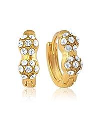 Mahi Eita Collection White Gold Plated Crystal Stones Hoop Earrings For Women-ER1100348G