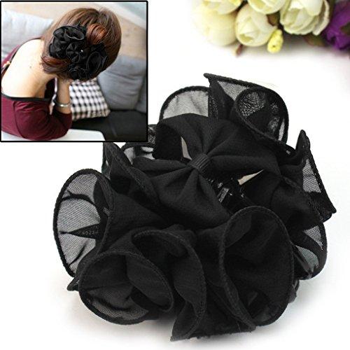 NICE Smile Beautiful Korean Chiffon Rose Bow Hair Claw Clip Gorgeous Hair Accessory, Black