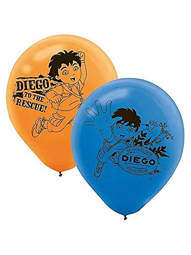 """Amscan Festive Diego's Biggest Rescue Printed Latex Birthday Party Balloons (6 Piece), 12"""", Blue/Orange"""