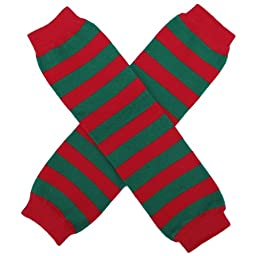 Christmas Holiday Winter Party Styles Leg Warmers - One Size - Baby, Toddler, Girl, Boy (Stripe Red & Green)