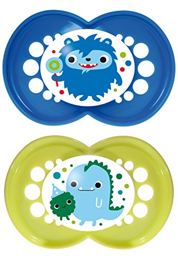 MAM Monsters Silicone Pacifier, Boy, 6 Plus Months, 2-Count