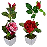 Thefancymart Set Of 2 Piece Artifical Rose Plants With Pots Style Code -15