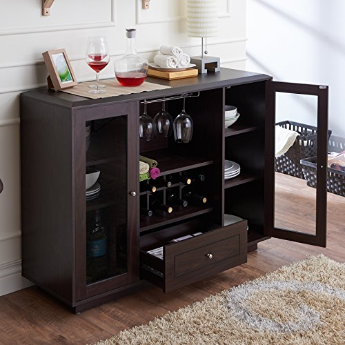 Karthen Espresso Multi-Storage Dining Buffet with Built-In Standard-Size Wine Slots, Glass Frame Doors, Racks for Hanging Stemware and Center Drawer with Metal Glides. (Hutch Wine Rack compare prices)