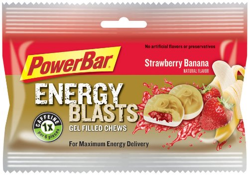 PowerBar Energy Blasts Gel-Filled Chews, Strawberry Banana, 2.12-Ounce Pouches (Pack of 12)