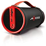 Axess SPBT1033-RD Portable Bluetooth Indoor/Outdoor 2.1 Hi-Fi Cylinder Loud Speaker with SD Card, AUX and FM Inputs, 4
