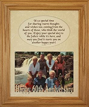 8×10 60th ANNIVERSARY Photo & Poetry LIGHT/MEDIUM Frame w/Cream Mat ~ Holds a Landscape 5×7 Picture/Photo ~ Wonderful Gift for the 60th Anniversary Couple!