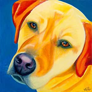 Original Dog Art Print on Canvas. Colorful Painting of Yellow Labrador on Blue Background. Deep Gallery Wrapped, Frameless. Complete and Ready to Hang on Wall. Signed By Artist.