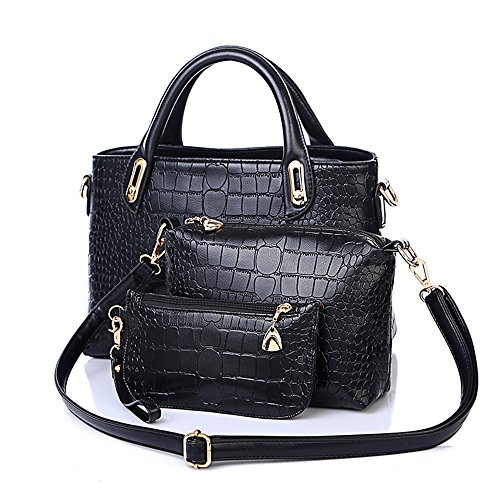 Mn&SueTM Noble Women's Alligator Crocodile Adjustable Top Handles Shoulder Tote, Mother and Son Lash Package Set Bags 3in1