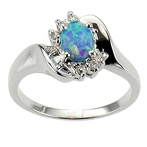 Oval Cut Synthetic Blue Opal 925 Sterling Silver Bridal Engagement Wedding Ring