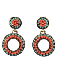 Pretty And Bold Green And Peach Ceramic Beaded Hoops For Women