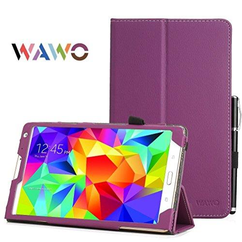 Samsung Galaxy Tab S 8.4 Case - Wawo Premium Pu Leather Folio Case For Samsung Galaxy Tab S 8.4 Inch Android Tablet(With Smart Cover Auto Wake / Sleep) Purple front-998409