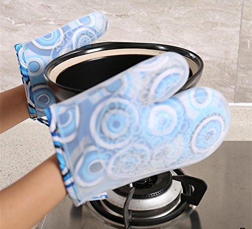 GYMNLJY Breve paragrafo Plus gel di silice di cotone isolamento guanti guanti da forno ad alta temperatura ispessimento forno microonde anti-skid Anti-hot , 1