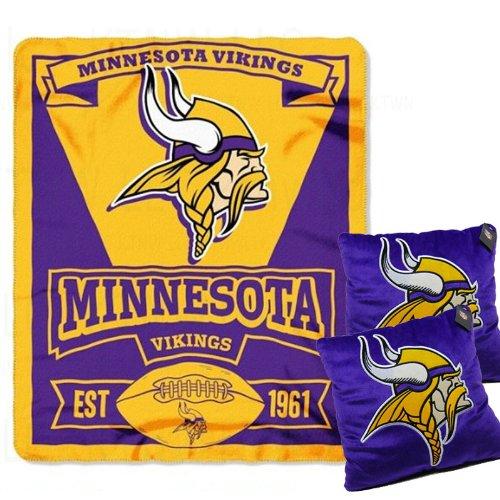 A Set Of 3 Piece Gift Set: 2 Nfl Team Pillows And 1 Nfl Fleece Throw Team Blanket - Minnesota Vikings