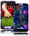 G2 Case, Bastex Heavy Duty Protective Hybrid Black Soft Silicone Cover with Anchor in Space Design Hard Case for LG G2