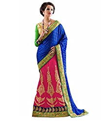 coolwomen women's net embroidered free size fancy saree-cw_NMGMA2112_blue_free size