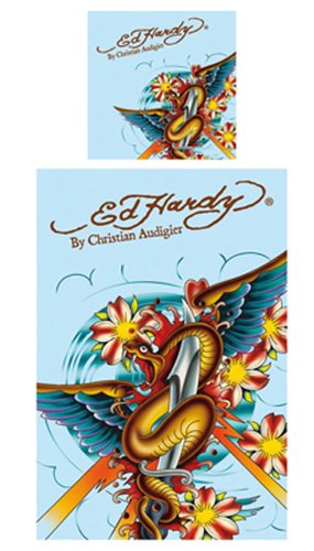 Ed Hardy 10316200 Bettwäsche Snake with Wings 135 x 200, 100% Cotton