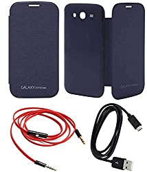 TBZ Premium Flip Cover Case -Pebble Blue for Samsung Galaxy Grand Neo with AUX Cable and Data Cable