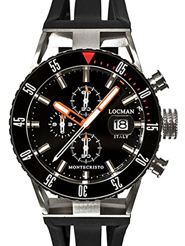Locman Montecristo 200 Meter Quartz Chronograph Dive Watch with 44mm Case 512BKORBK