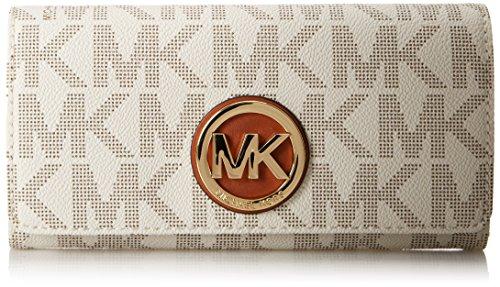 MICHAEL Michael KorsMichael Kors Fulton Carryall MK Signature Vanilla PVC Wallet Flap Clutch