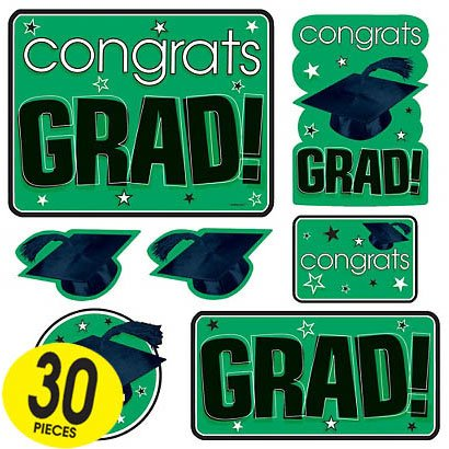 Congrats Grad Green Graduation Cutouts