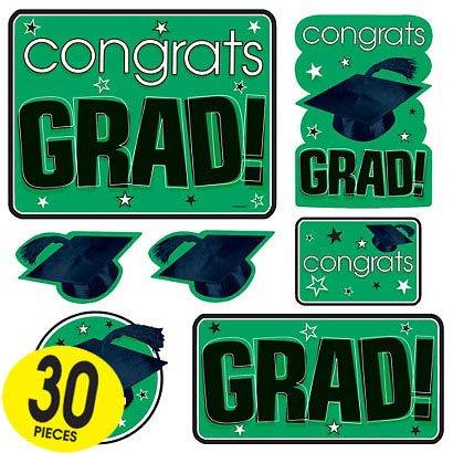 Congrats Grad Green Graduation Cutouts