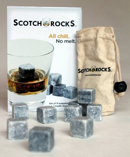Scotch Rocks - Set of 9 Chilling Whisky Rocks in Scotch Rocks Gift Box with Muslin Carrying Pouch