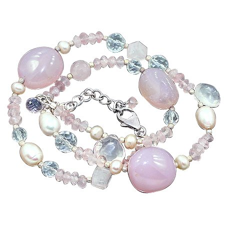 925 Sterling Silver Artisan Rose Quartz White Topaz South Sea Pearl Gemstone Beads Strand Necklace Size 18 Inches