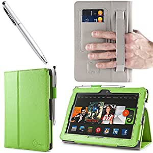 i-BLASON Kindle Fire HDX 7 inch Tablet Leather Case Cover / Stylus (Automatically Wakes and Puts the Kindle Fire HDX to Sleep) (NOT Compatible with Kindle Fire HD 7) 3 Year Warranty (Green)
