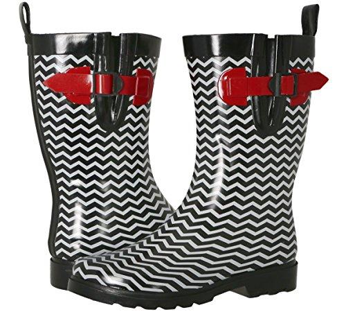 Capelli New York Ladies Shiny Chevron Printed Mid-Calf Rain Boot Black Combo 8 (Rain Boots Printed compare prices)