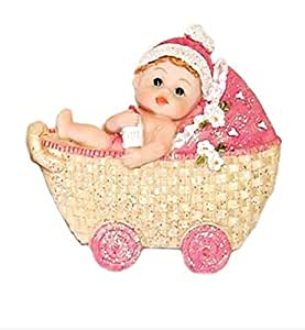 baby girl in a carriage magnet baby shower favors 1