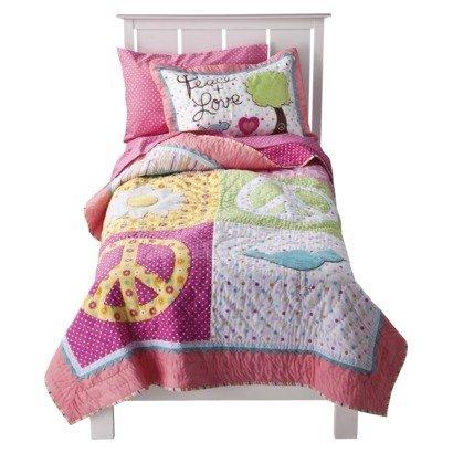 Circo® Peace Girl Full/ Queen Quilt & Sham Set - Pink front-169616