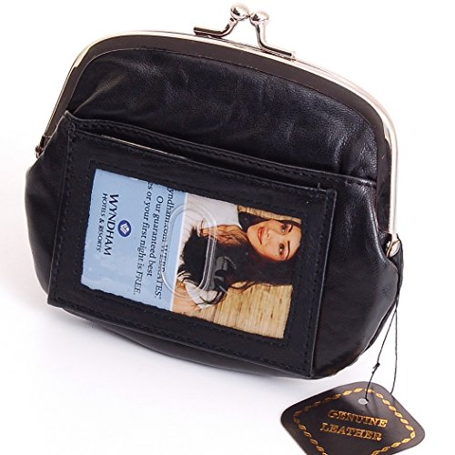 New Leather Womens Wallet Metal Frame Zippered Coin Purse ID WIndow Card Case Black