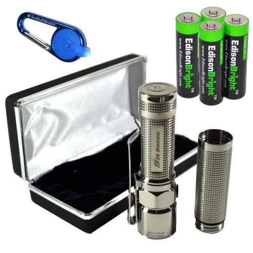 Olight S15 Baton Ti Titanium (Polished) Special Edition Xm-L2 260 Lumens Led Single Aa Flashlight Edc With Free Extender Tube, Smith & Wesson Led Carabeamer Clip Light And Four Edisonbright Aa Alkaline Batteries