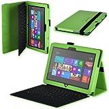 Kunstleder Tasche Hülle F. Microsoft Surface Rt / Surface 2 Grün Tablet Case Cover