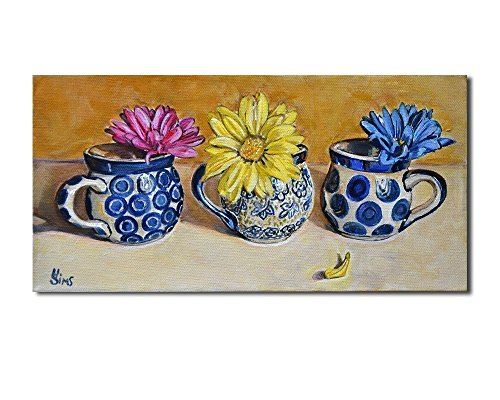 Boleslawiec Polish Pottery Mugs Floral Still Life Art Giclee Print Kitchen Wall Home Decor, size mat option (Pottery Kitchen compare prices)