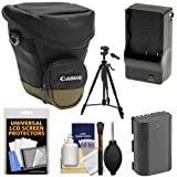 Canon Zoom Pack 1000 Digital SLR Camera Holster Case with LP-E6 Battery & Charger + Tripod + Accessory Kit for EOS 6D - 7D - 70D - 5D Mark II III