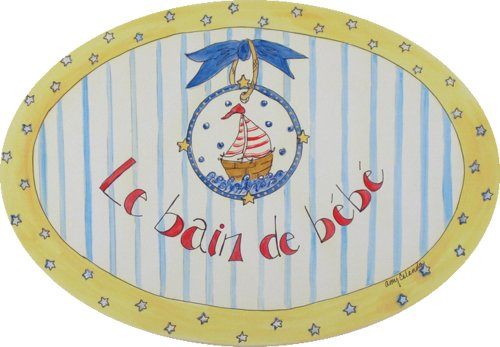The Kids Room by Stupell Le Bain de Bebe with Sailboat Oval Wall Plaque - 1
