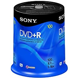 Sony DVD+R 4.7 GB Printable Recordable DVD's - 100 Disc Spindle Pack