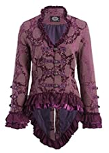 Elegant Purple Victorian Tail Jacket with Lace Embellishments